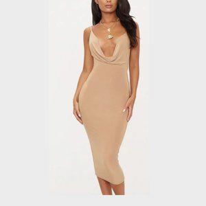 NWT Pretty Little Thing Brown Slinky Midi Dress 8